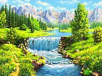 50х40 см алмазная мозаика ГОРНАЯ РЕКА вышивка картина мозаїка діамантова вишивка лето гірська річка 50 х 40