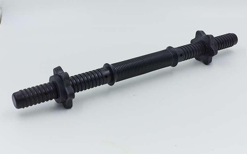 Гриф гантельный пластиковый с насечкой с замками TA-80243-35 (TA-80257-35) (l-35, d-25мм, черный)