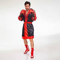 Халат боксерский с капюшоном TWINS FTR-3 (сатин, р-р M-XL-46-52, черный-красный)