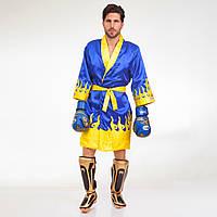 Халат боксерский TWINS FTR-2 (сатин, р-р M-XL-46-52, синий-желтый)