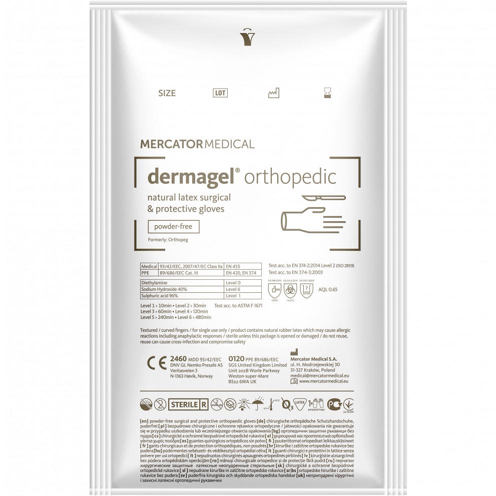 Перчатки Dermagel ORTHOPEDIC латексные хирургические стерильные неприпудренные р.6,5