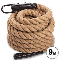 Канат спортивный для лазанья с креплением COMBAT BATTLE ROPE FI-0910-9 (сизаль, ручки:винил, l-9м, d-5см)