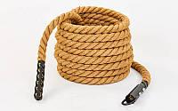 Канат спортивный для лазанья с креплением из сизаля FI-6989-9 (сизаль, l-9м, d-3,8см)