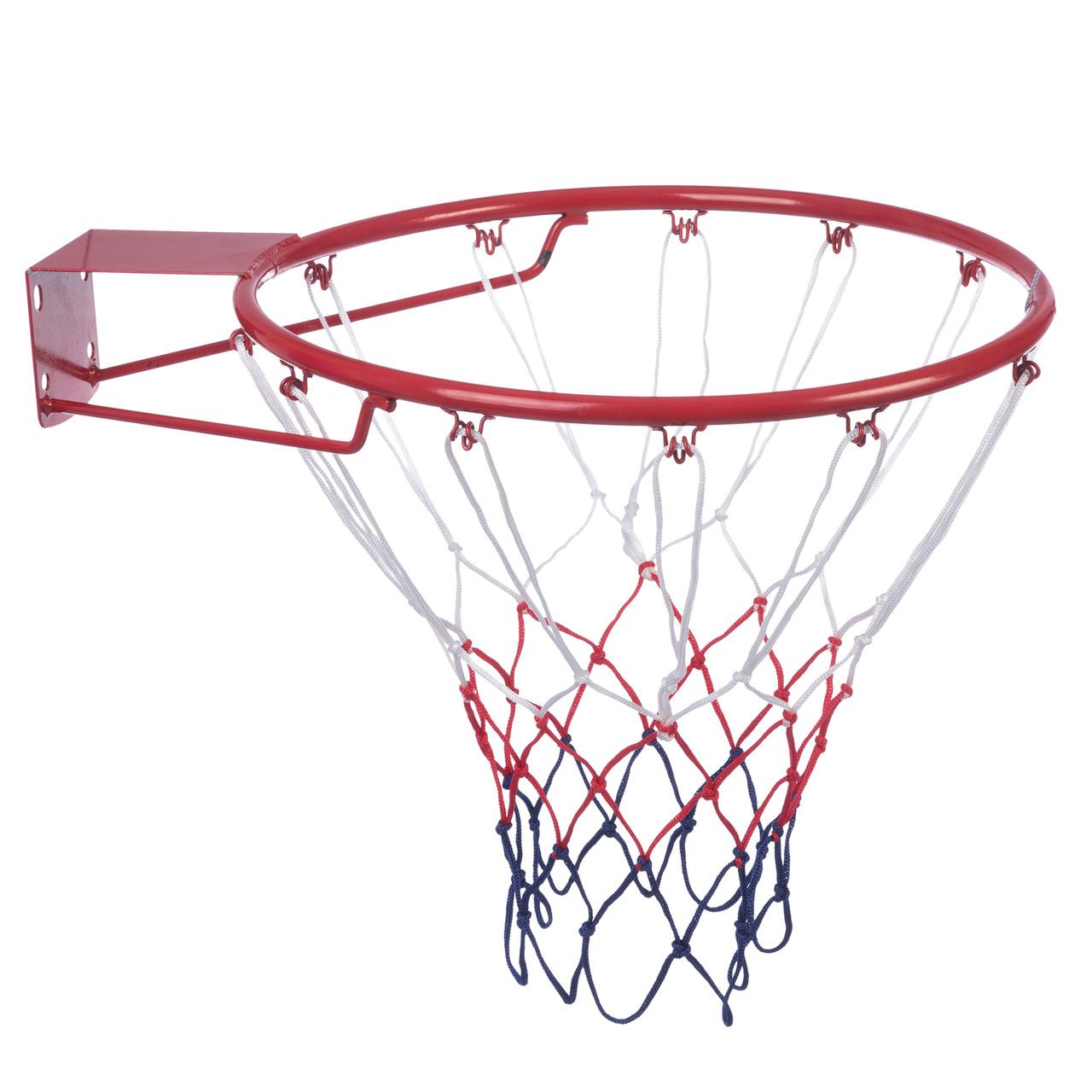 Кольцо баскетбольное C-0844 (d кольца-45см, d трубы-12мм, в ком.кольцо-металл, сетка-нейлон, болты)