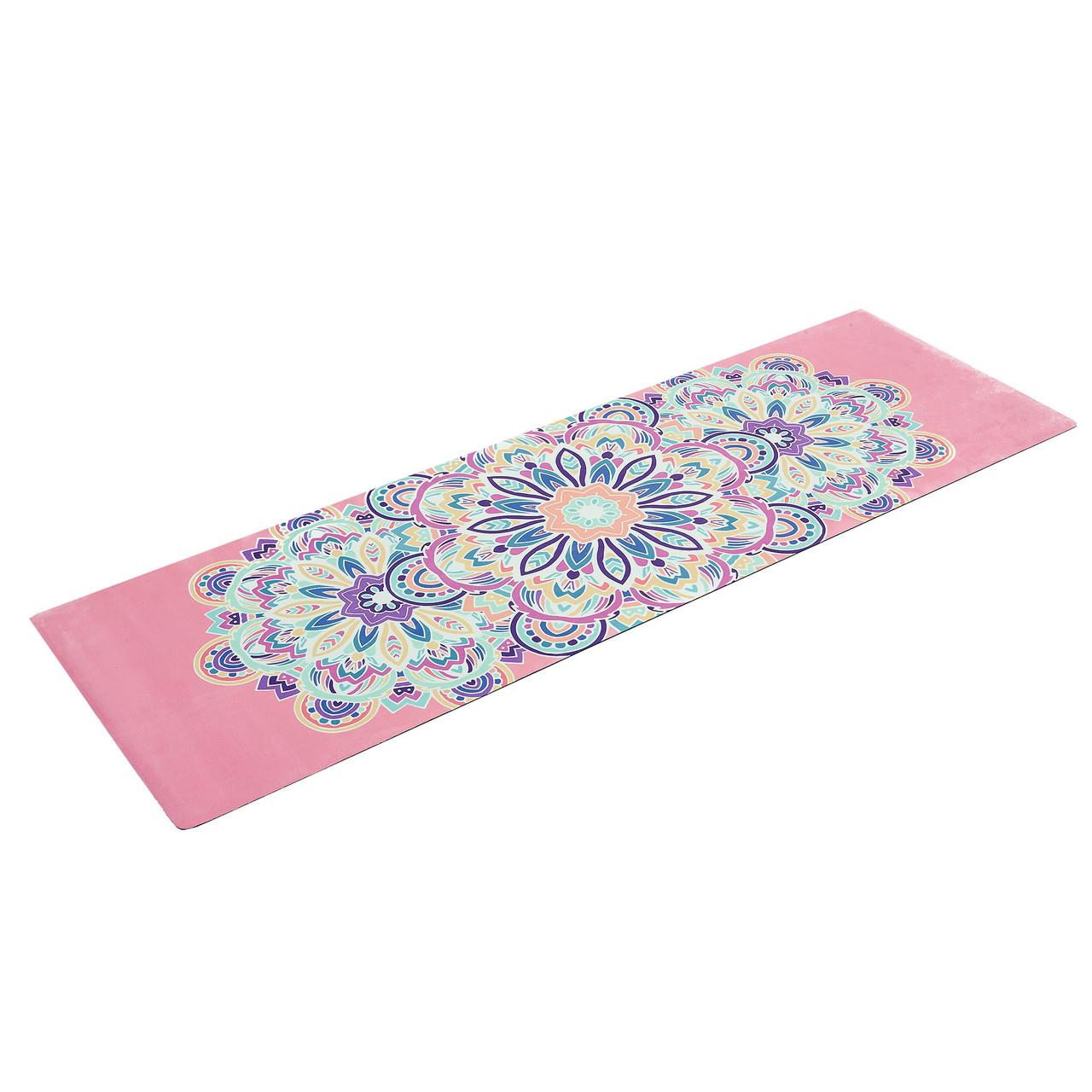 Коврик для йоги Замшевый каучуковый двухслойный 3мм Record FI-5662-6 (размер 1,83мx0,61мx3мм, розовый, с принтом Тройной Оберег)