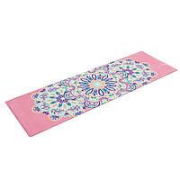 Коврик для йоги Замшевый каучуковый двухслойный 3мм Record FI-5662-6 (размер 1,83мx0,61мx3мм, розовый, с принтом Тройной Оберег), фото 1