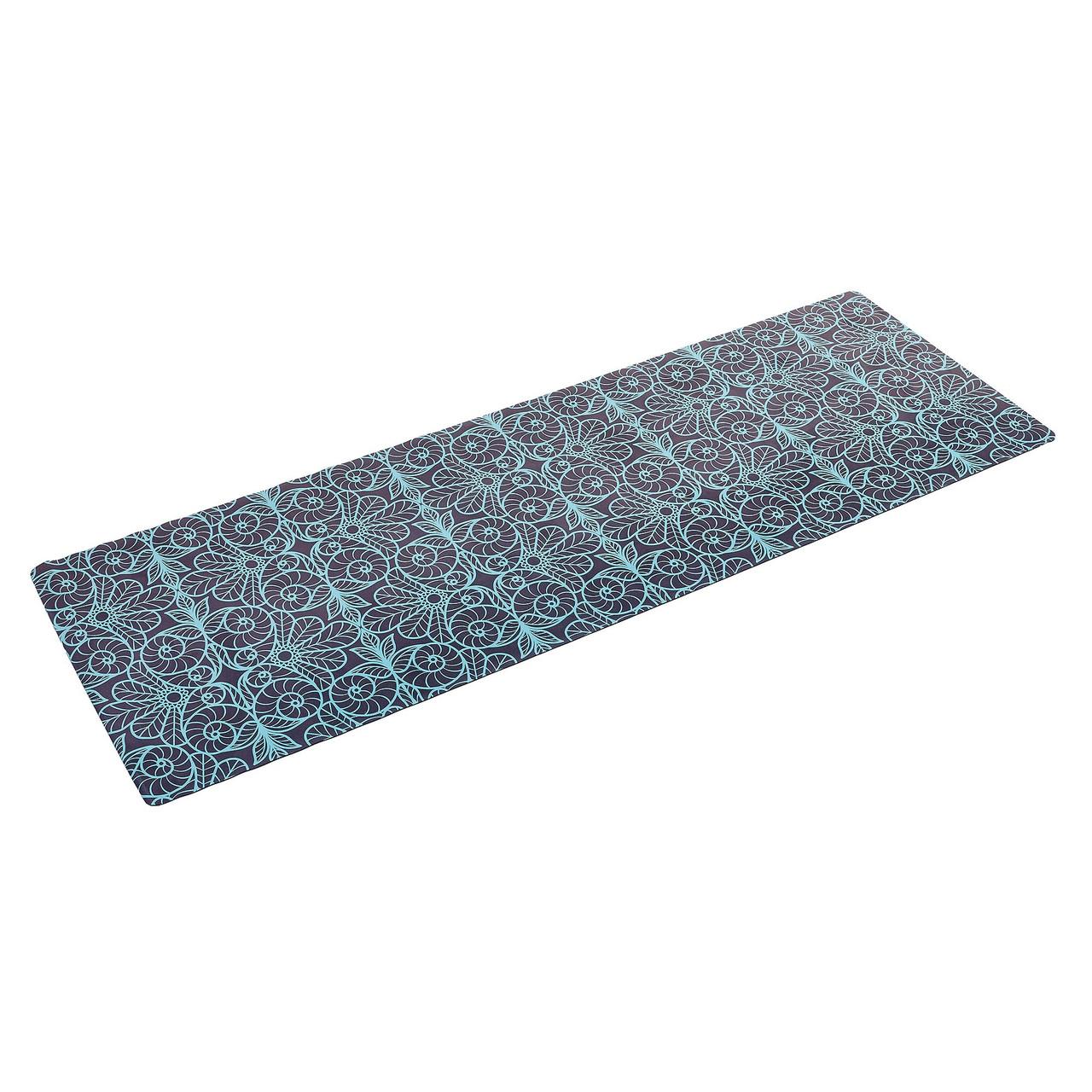 Коврик для йоги Замшевый каучуковый двухслойный 3мм Record FI-5662-17 (размер 1,83мx0,61мx3мм, синий-черный, с принтом Восток)