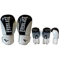 Перчатки боксерские Кожа ELAST BO-6161-BK (р-р 10-12 oz, черный-белый)
