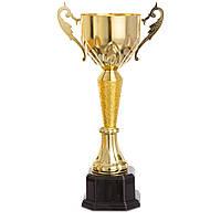 Кубок спортивный с ручками 9985B (металл, пластик, h-38см, b-см, d чаши-см, золото)