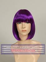 Цветной парик каре из канекалона 8039 пурпурный для сцены, танцев, вечеринок и развлечений