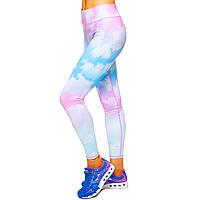 Лосины для фитнеса и йоги с принтом Domino Pastel 1630-3 размер S-L рост 150-180, вес 40-60кг белый-розовый-голубой