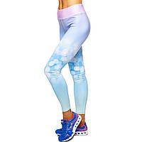 Лосины для фитнеса и йоги с принтом Domino Pastel 1630-5 размер S-L рост 150-180, вес 40-60кг белый-фиолетовый-голубой