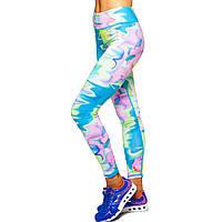 Лосины для фитнеса и йоги с принтом Domino Pastel 1630-6 размер S-L рост 150-180, вес 40-60кг голубой-розовый