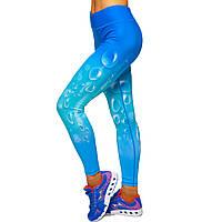 Лосины для фитнеса и йоги с принтом Domino Pastel Капля 1630-4 размер S-L рост 150-180, вес 40-60кг синий-голубой