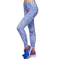 Лосины для фитнеса и йоги с принтом Domino YH49 размер S-L рост 150-180, вес 40-60кг синий-розовый