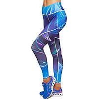 Лосины для фитнеса и йоги с принтом Domino YH70 размер S-L рост 150-180, вес 40-60кг темно-синий-голубой