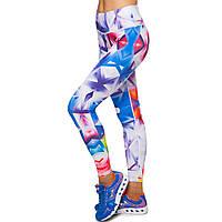 Лосины для фитнеса и йоги с принтом Domino YH72 размер S-L рост 150-180, вес 40-60кг белый-синий-красный