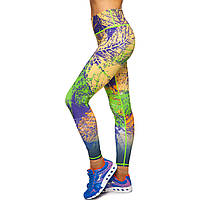 Лосины для фитнеса и йоги с принтом Domino YH88 размер S-L рост 150-180, вес 40-60кг желтый-салатовый