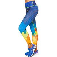 Лосины для фитнеса и йоги с принтом Domino YH102 размер S-L рост 150-180, вес 40-60кг синий-желтый