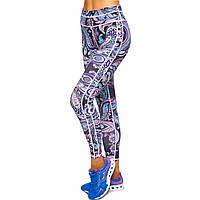 Лосины для фитнеса и йоги с принтом Domino YH108 размер S-L рост 150-180, вес 40-60кг черный-розовый