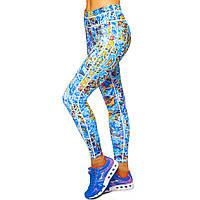 Лосины для фитнеса и йоги с принтом Domino YH121 размер S-L рост 150-180, вес 40-60кг голубой-желтый
