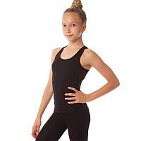 Майка спортивная из хлопковой ткани детская Zelart DR-1404 (р-р RUS-32-42, рост 122-164см, черный)