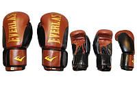 Перчатки боксерские Кожа ELAST BO-6161-BR (р-р 10-12 oz, черный-коричневый)