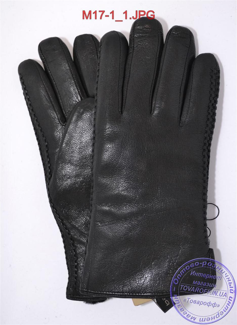 Оптом мужские зимние перчатки из оленьей кожи на цигейке (натуральный черный мех) - №M17-1