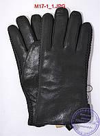 Оптом мужские зимние перчатки из оленьей кожи на цигейке (натуральный черный мех) - №M17-1, фото 1