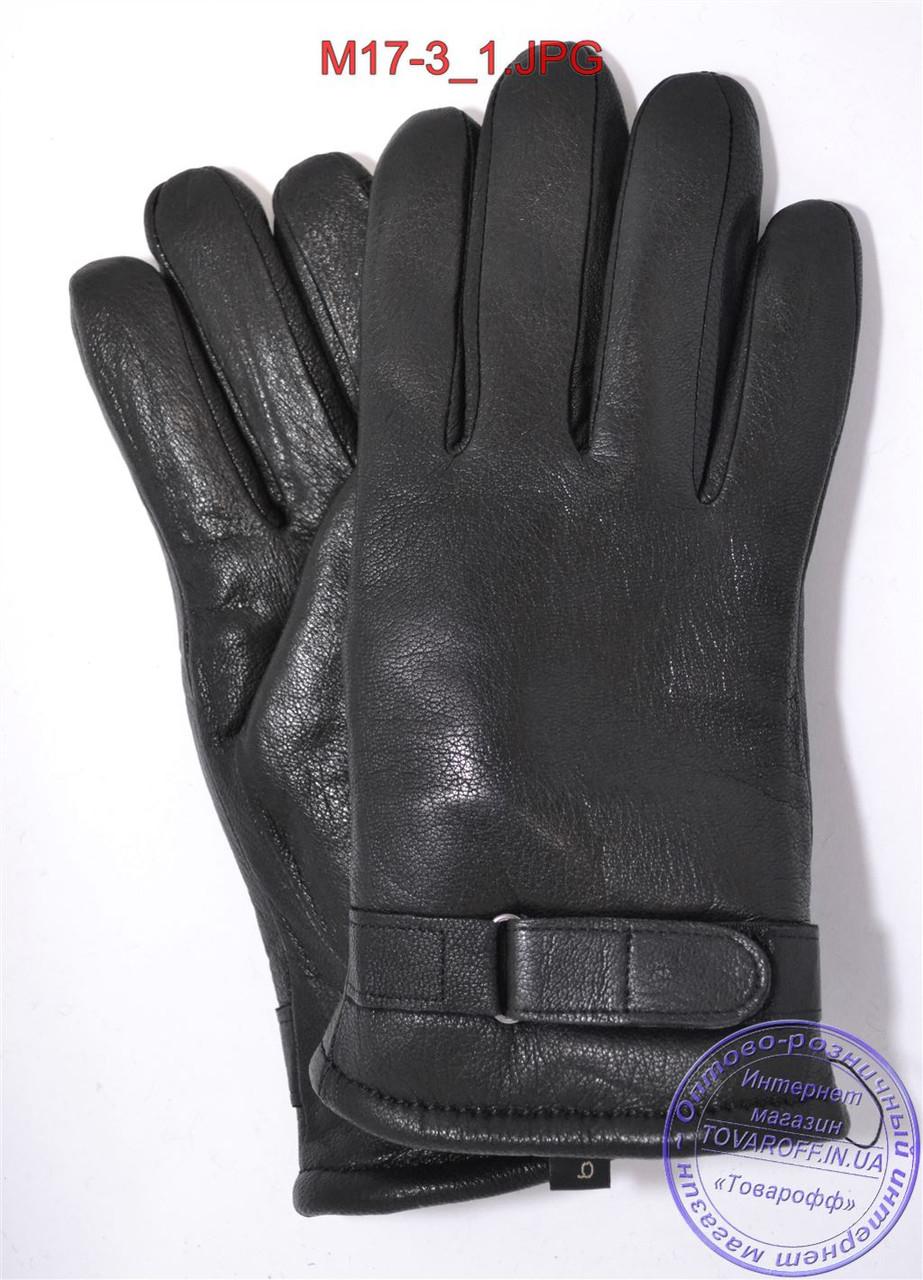 Оптом мужские зимние перчатки из оленьей кожи на цигейке (натуральный черный мех) - №M17-3