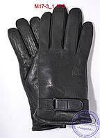 Оптом мужские зимние перчатки из оленьей кожи на цигейке (натуральный черный мех) - №M17-3, фото 1