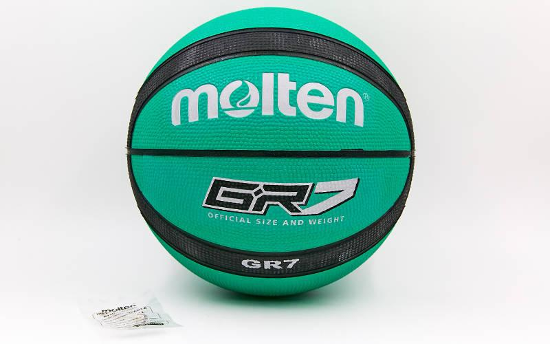 Мяч баскетбольный резиновый №7 MOLTEN BGR7-GK-SH GR7 (резина, бутил, зеленый-черный)