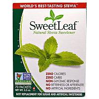 Wisdom Natural, SweetLeaf, природний замінник цукру стевія, 70 пакетів
