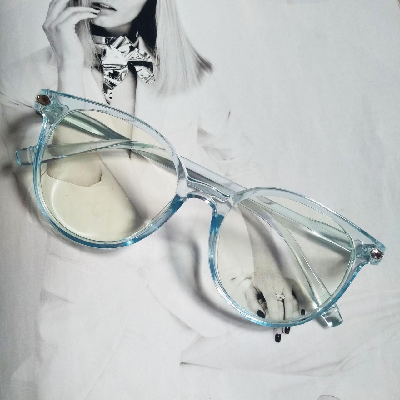 Имиджевые очки  круглые с  прозрачной линзой анти блик Голубой