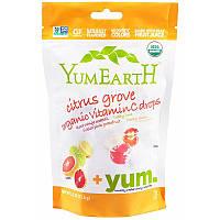 YumEarth, Органические леденцы с витамином С Citrus Grove, 93,5 г