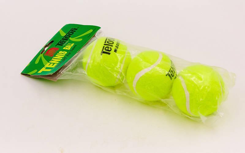Мяч для большого тенниса TELOON (3шт) T801 (в пакете, салатовый)