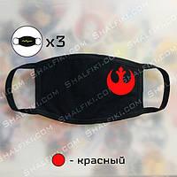 """""""Сопротивление (Star Wars / Звёздные войны)"""" комплект из 3-х черных защитных масок с принтом - красный"""