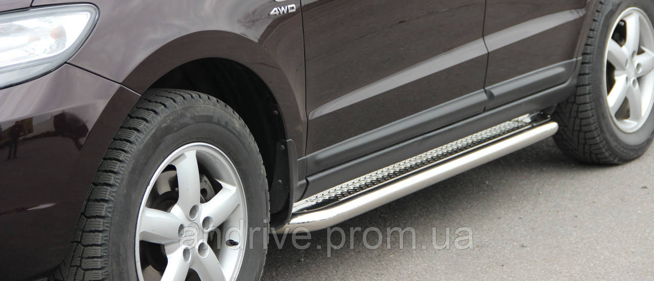 Пороги боковые (подножки-площадка) Hyundai Santa Fe 2013-2018 (Ø60)