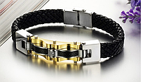 Мужской массивный кожаный браслет сталь 316L позолота карбон