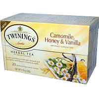 Twinings, Растительный чай с ромашкой, медом и ванилью, Не содержит кофеина, 20 пакетиков в индивидуальной упаковке, 1,13 унций (32 г)