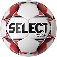 Мяч футбольный №4 SELECT BRILLANT REPLICA NEW (PVC 1000, белый-серый-красный)
