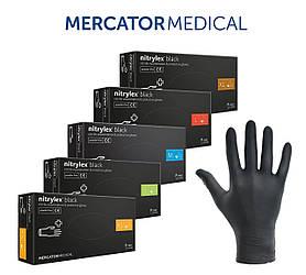 Перчатки нитриловые неопудренные NITRYLEX BLACK Mercator Medical (черные)