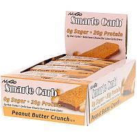 NuGo Nutrition, Smarte Carb, хрустящие батончики с арахисовым маслом, 12 батончиков, 1,76 унции (50 г) каждый