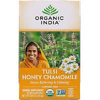 Organic India, Чай с тулси, медом и ромашкой, без кофеина, 18 пакетиков, 30,6 г (1,08 унции)