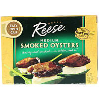 Reese, Medium Smoked Oysters, 3.70 oz (105 g)