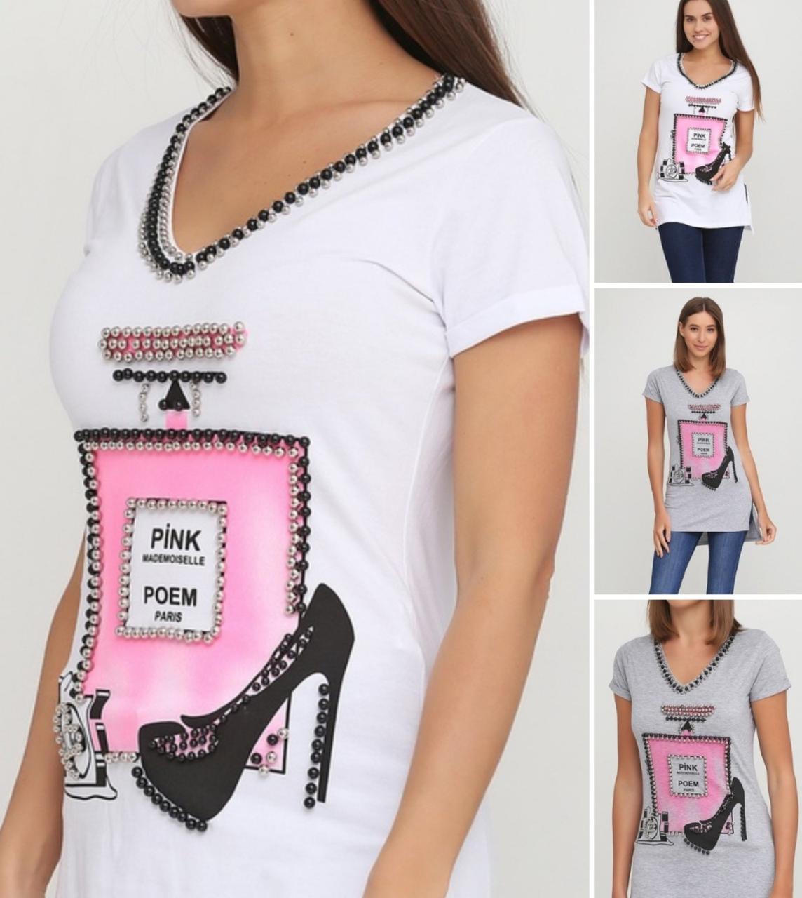 Купить Женская футболка-туника Chanel, бусы пришиты, сбоку разрез. Пр-во Турция. Размер :С, М, Л, ХЛ.