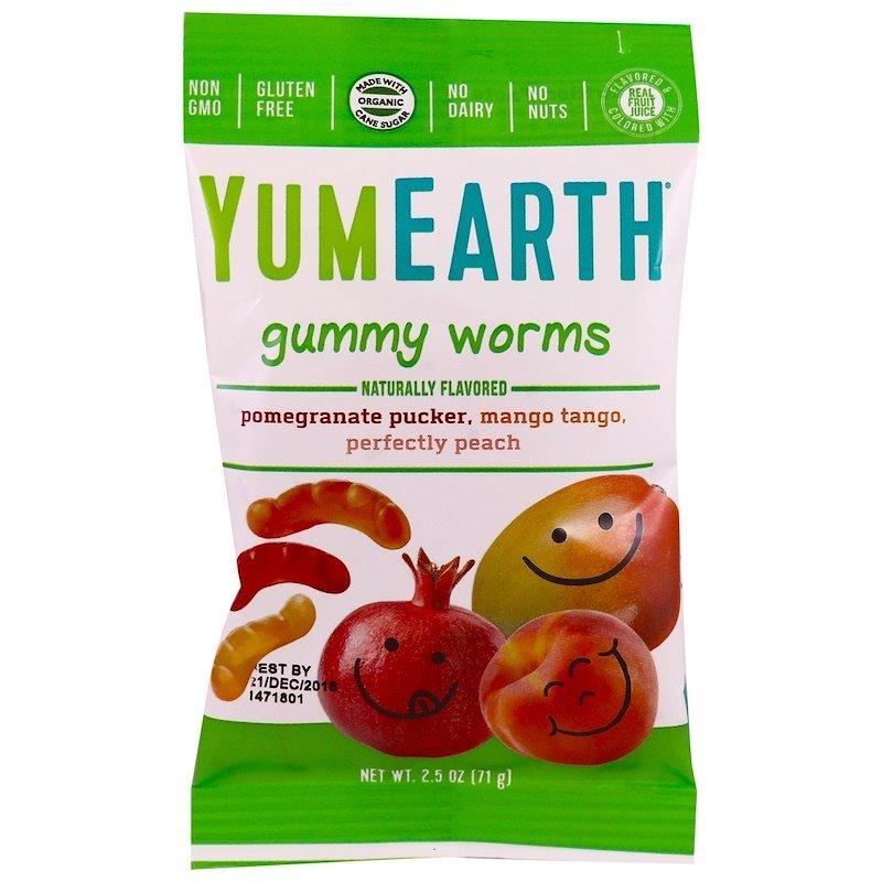 YumEarth, Желатинові черв'ячки, різні смаки, 12 упаковок, по 2,5 унц. (71 г) кожна