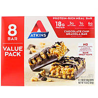 Atkins, Meal Bar, Chocolate Chip Granola Bar, 8 Bars, 1.69 oz (48 g), фото 1