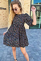 Оригинальное платье с завышенной линией талии в цветочный принт  Busem - черный цвет, S (есть размеры), фото 1