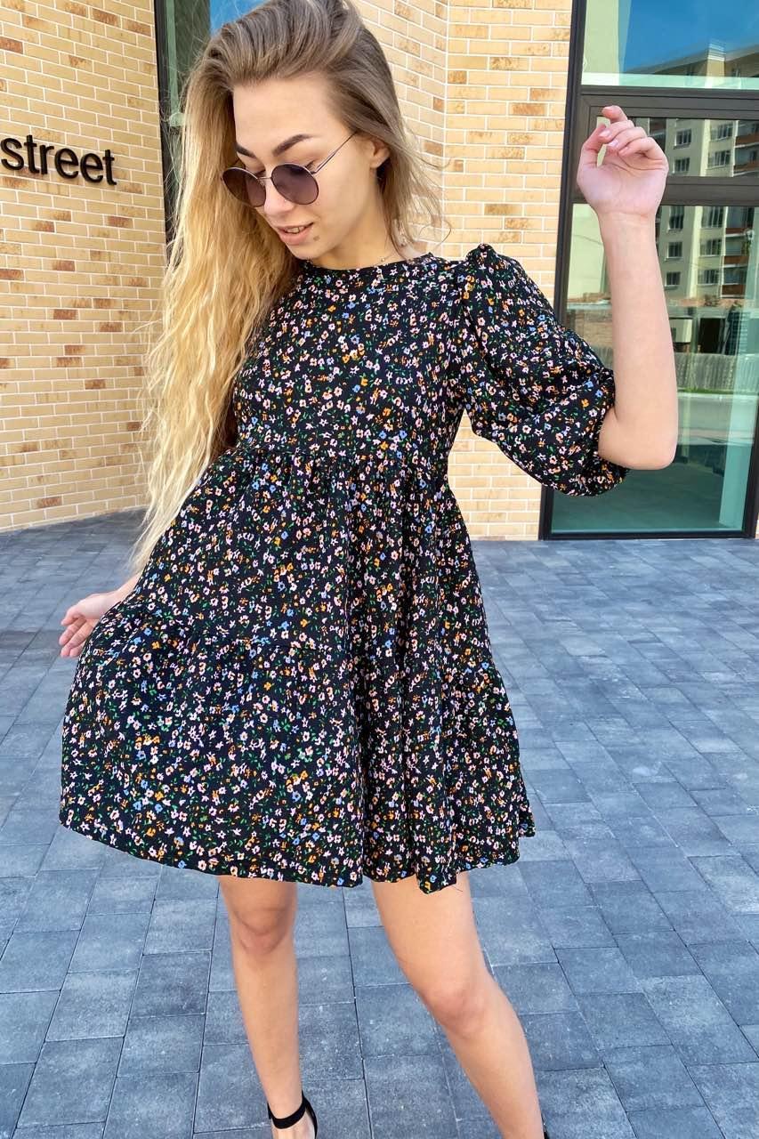 Оригинальное платье с завышенной линией талии в цветочный принт  Busem - черный цвет, M (есть размеры)